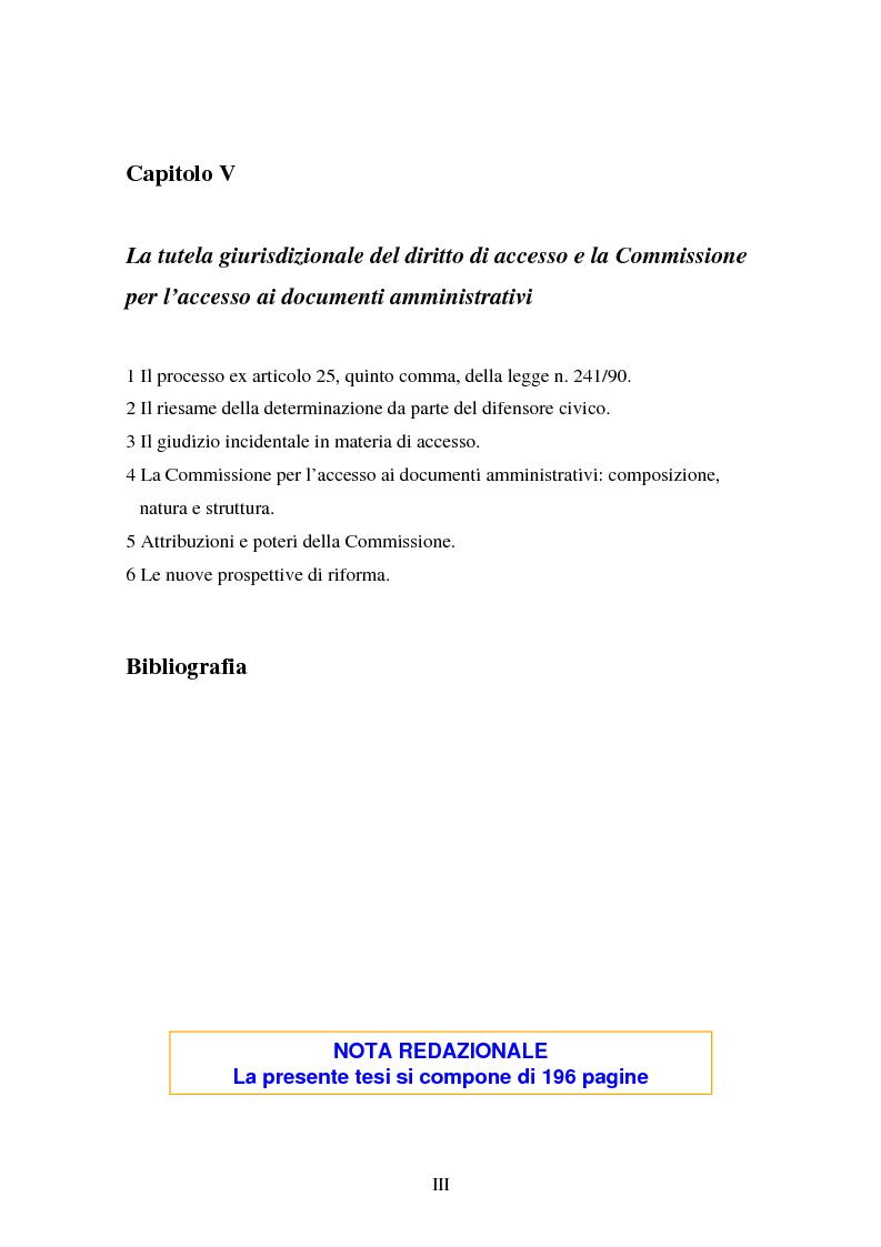 Indice della tesi: Il diritto di accesso ai documenti amministrativi, Pagina 3