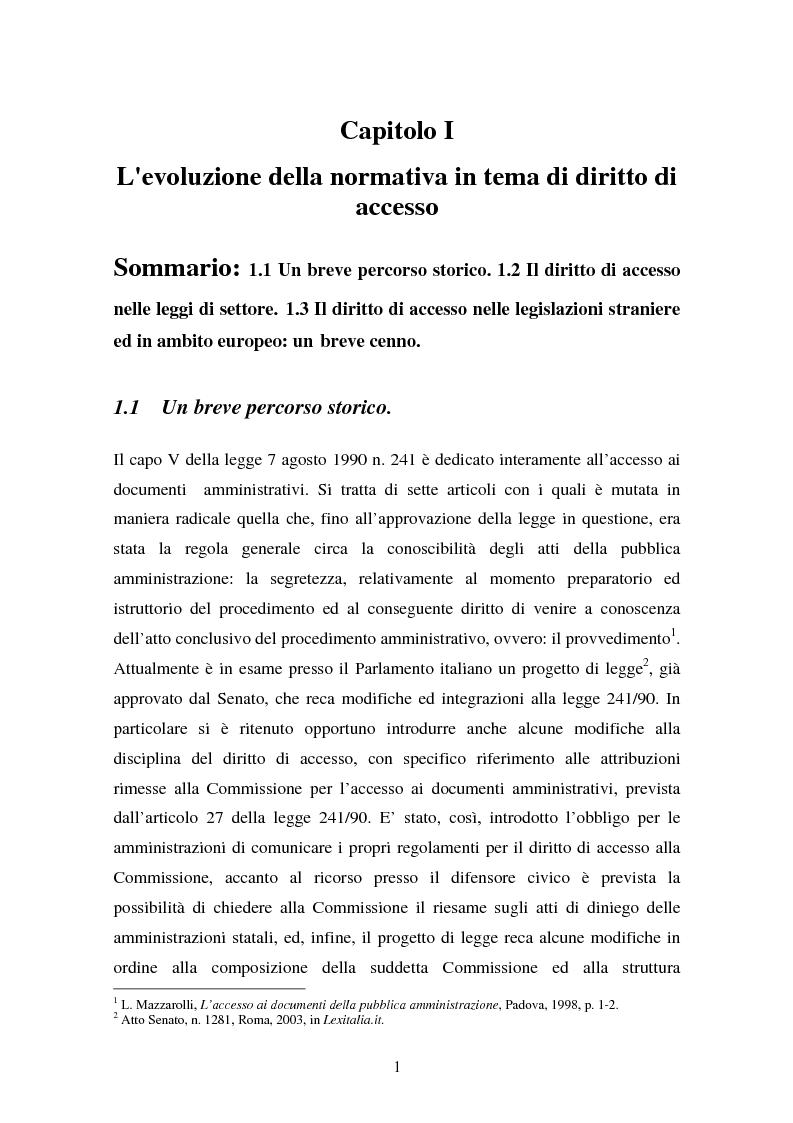 Anteprima della tesi: Il diritto di accesso ai documenti amministrativi, Pagina 1