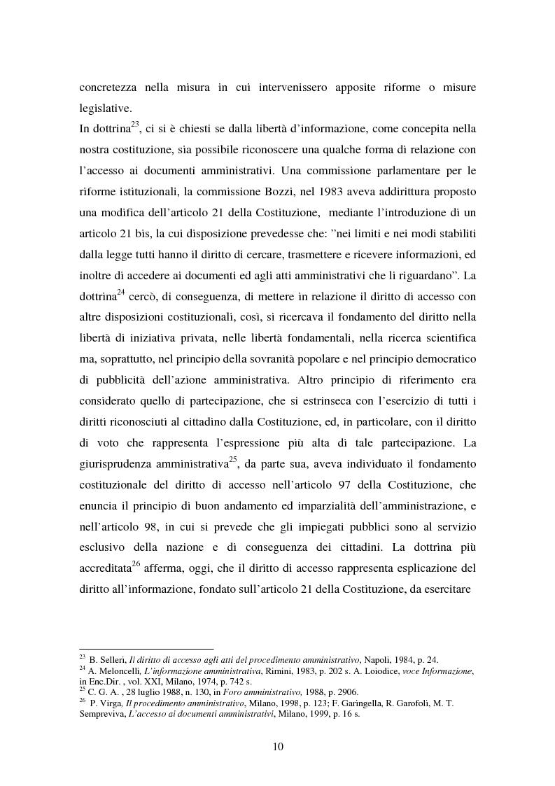 Anteprima della tesi: Il diritto di accesso ai documenti amministrativi, Pagina 10