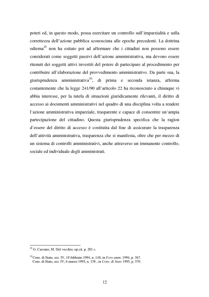 Anteprima della tesi: Il diritto di accesso ai documenti amministrativi, Pagina 12