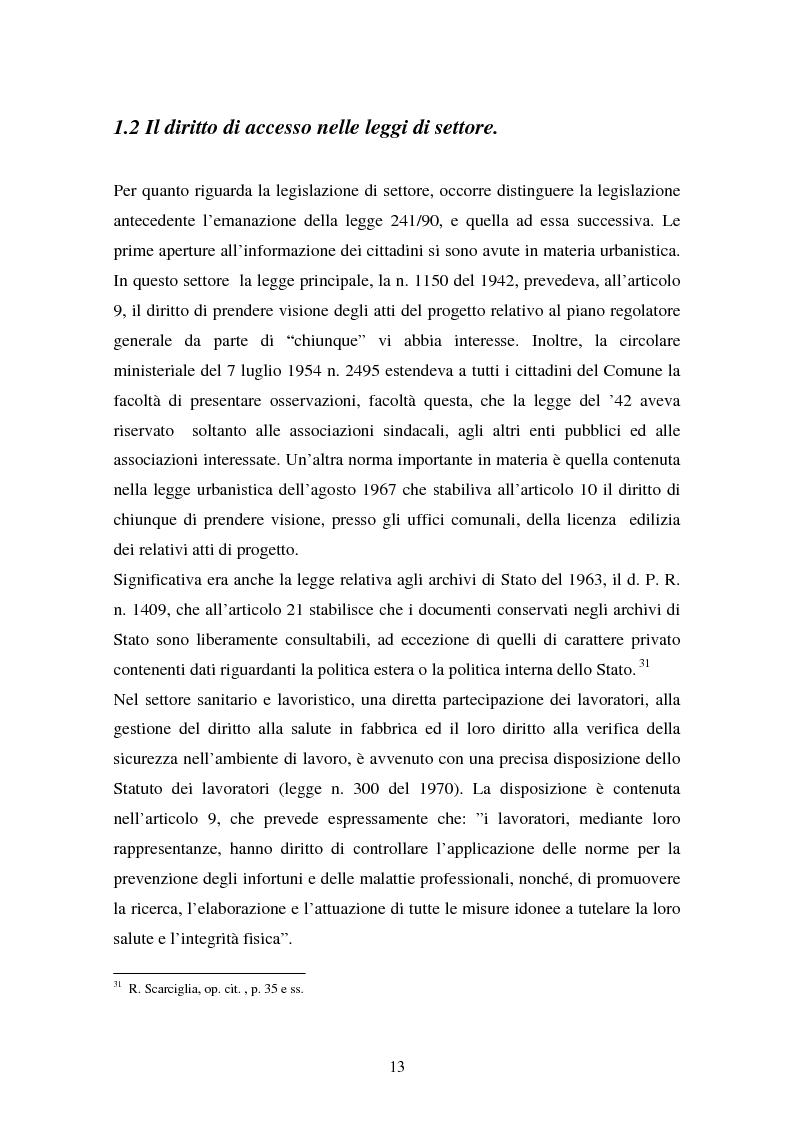 Anteprima della tesi: Il diritto di accesso ai documenti amministrativi, Pagina 13