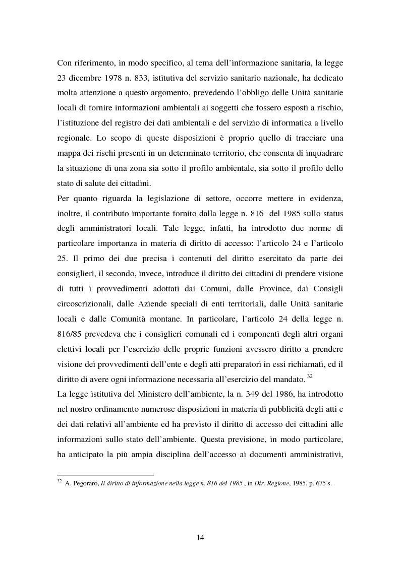 Anteprima della tesi: Il diritto di accesso ai documenti amministrativi, Pagina 14