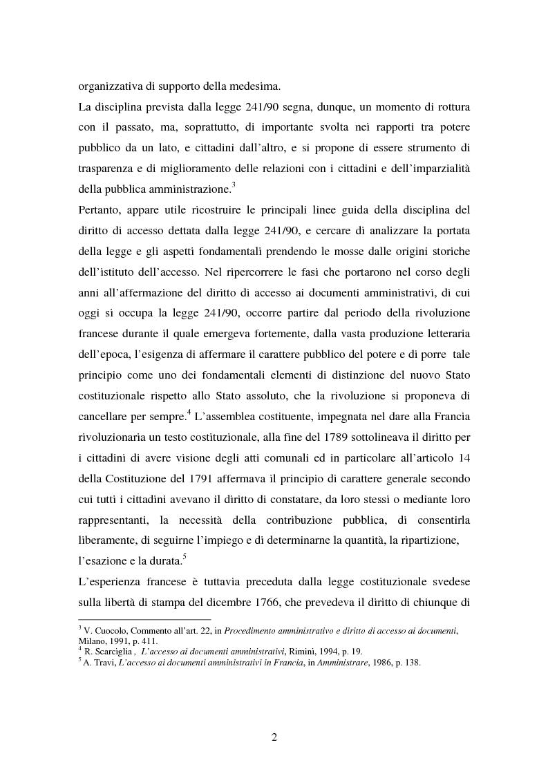 Anteprima della tesi: Il diritto di accesso ai documenti amministrativi, Pagina 2