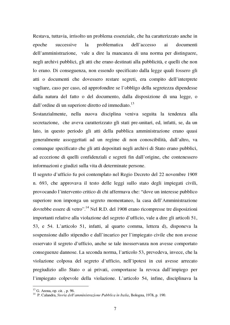 Anteprima della tesi: Il diritto di accesso ai documenti amministrativi, Pagina 7