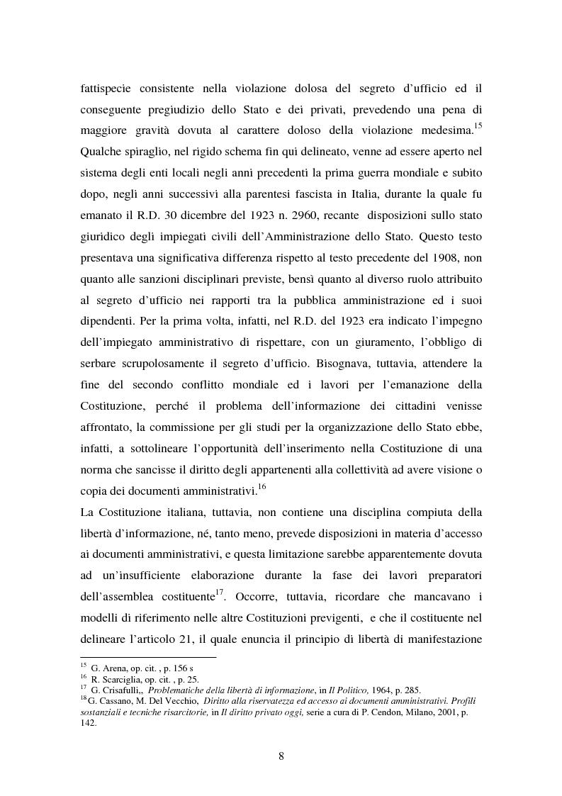 Anteprima della tesi: Il diritto di accesso ai documenti amministrativi, Pagina 8