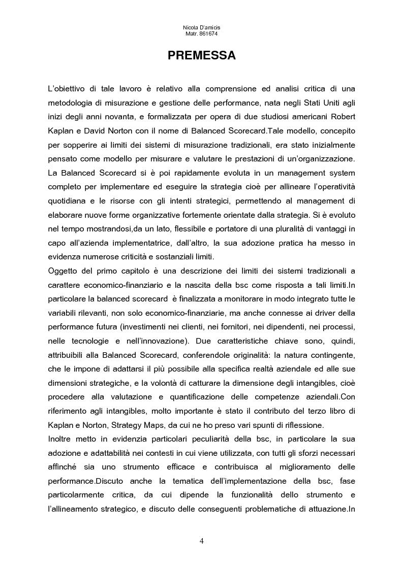 Anteprima della tesi: Balanced scorecard e valutazione delle prestazioni aziendali: impatto sul sistema di incentivazione e responsabilizzazione, Pagina 1