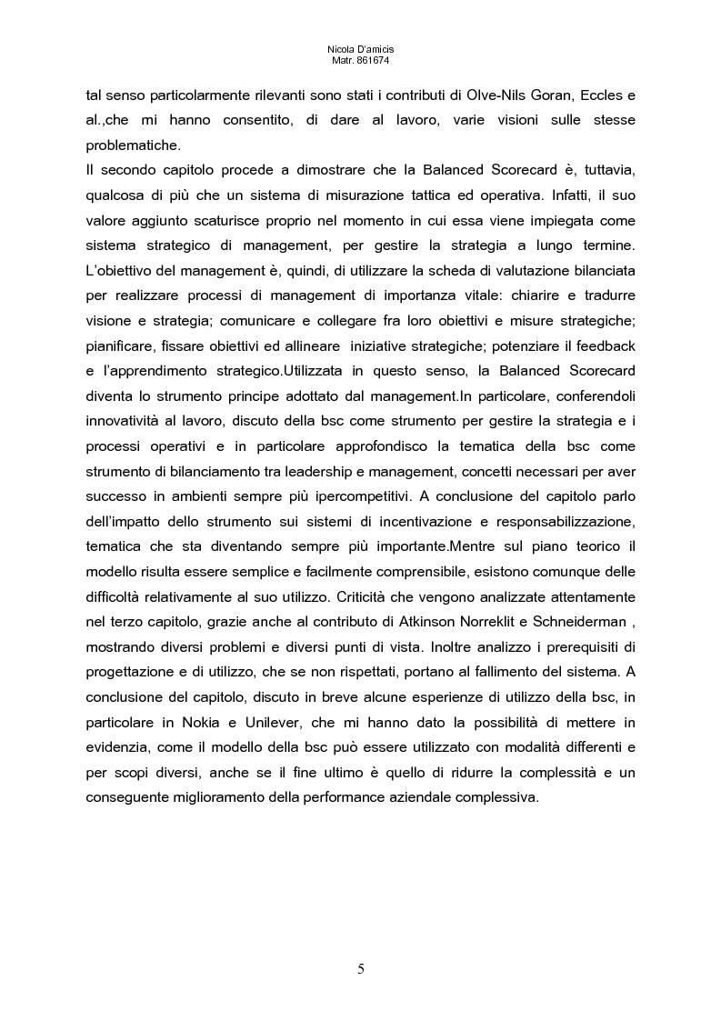 Anteprima della tesi: Balanced scorecard e valutazione delle prestazioni aziendali: impatto sul sistema di incentivazione e responsabilizzazione, Pagina 2