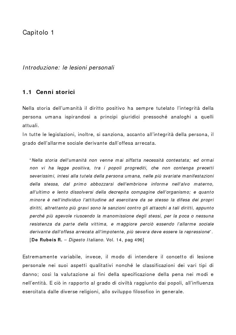 Anteprima della tesi: L'indebolimento permanente di un senso o di un organo nelle lesioni personali, Pagina 1