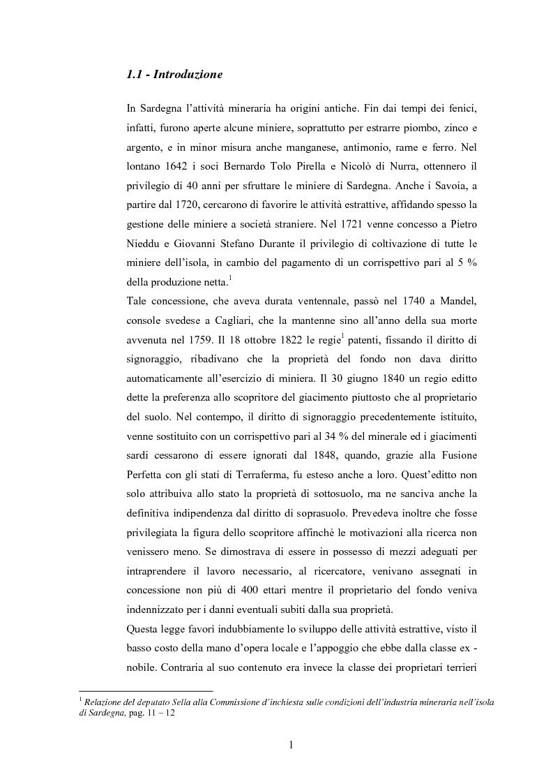 Anteprima della tesi: Storia e storia operaia della miniera di Seui, Pagina 1