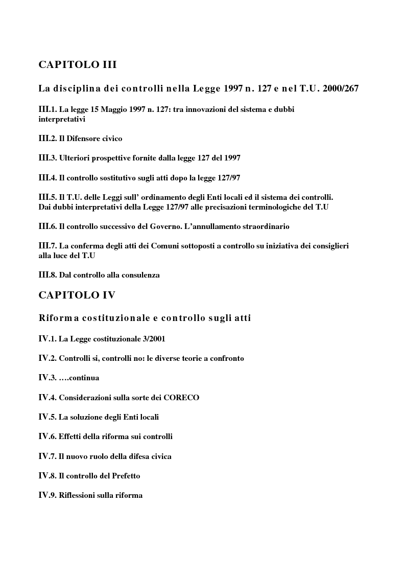 Indice della tesi: Il sistema dei controlli sui comuni, Pagina 2