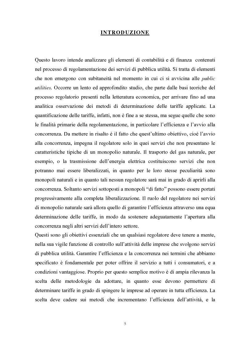 Anteprima della tesi: La Regolamentazione dei servizi di pubblica utilità: valutazioni contabili e finanziarie, Pagina 1