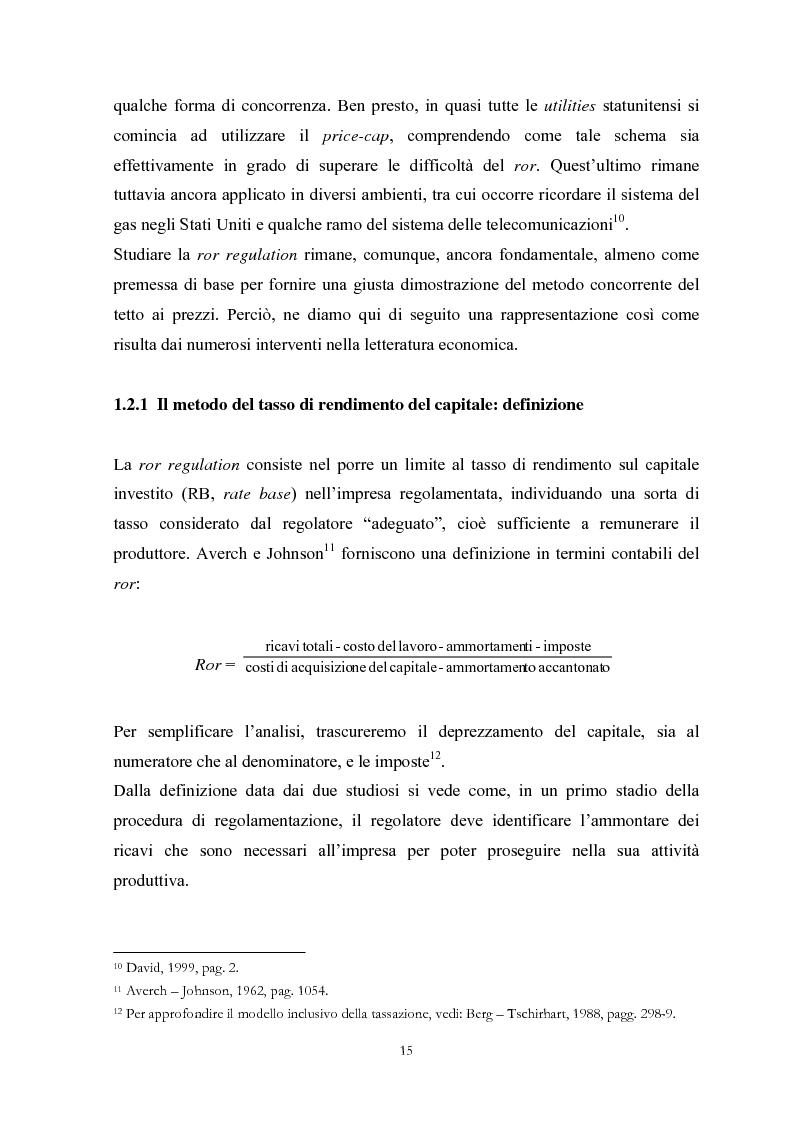 Anteprima della tesi: La Regolamentazione dei servizi di pubblica utilità: valutazioni contabili e finanziarie, Pagina 11