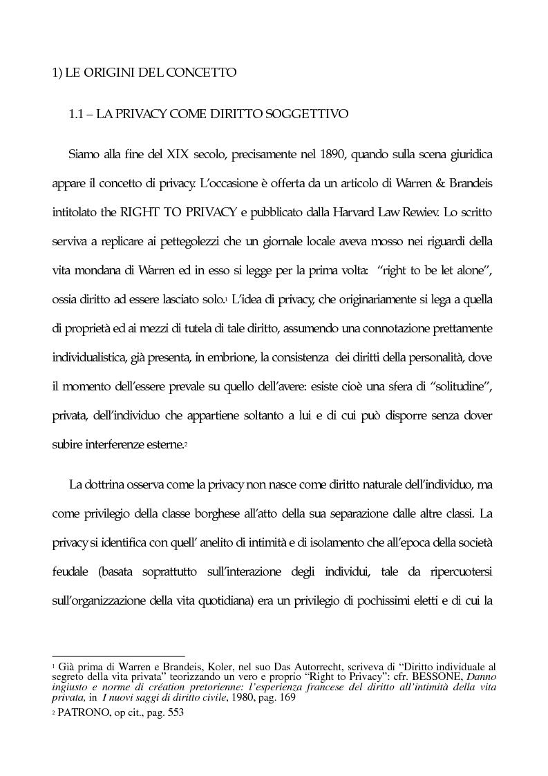 Anteprima della tesi: La tutela penale della privacy, Pagina 1