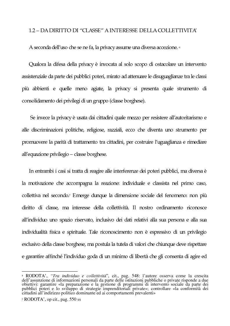 Anteprima della tesi: La tutela penale della privacy, Pagina 3