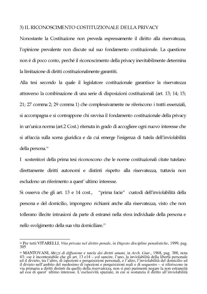 Anteprima della tesi: La tutela penale della privacy, Pagina 9