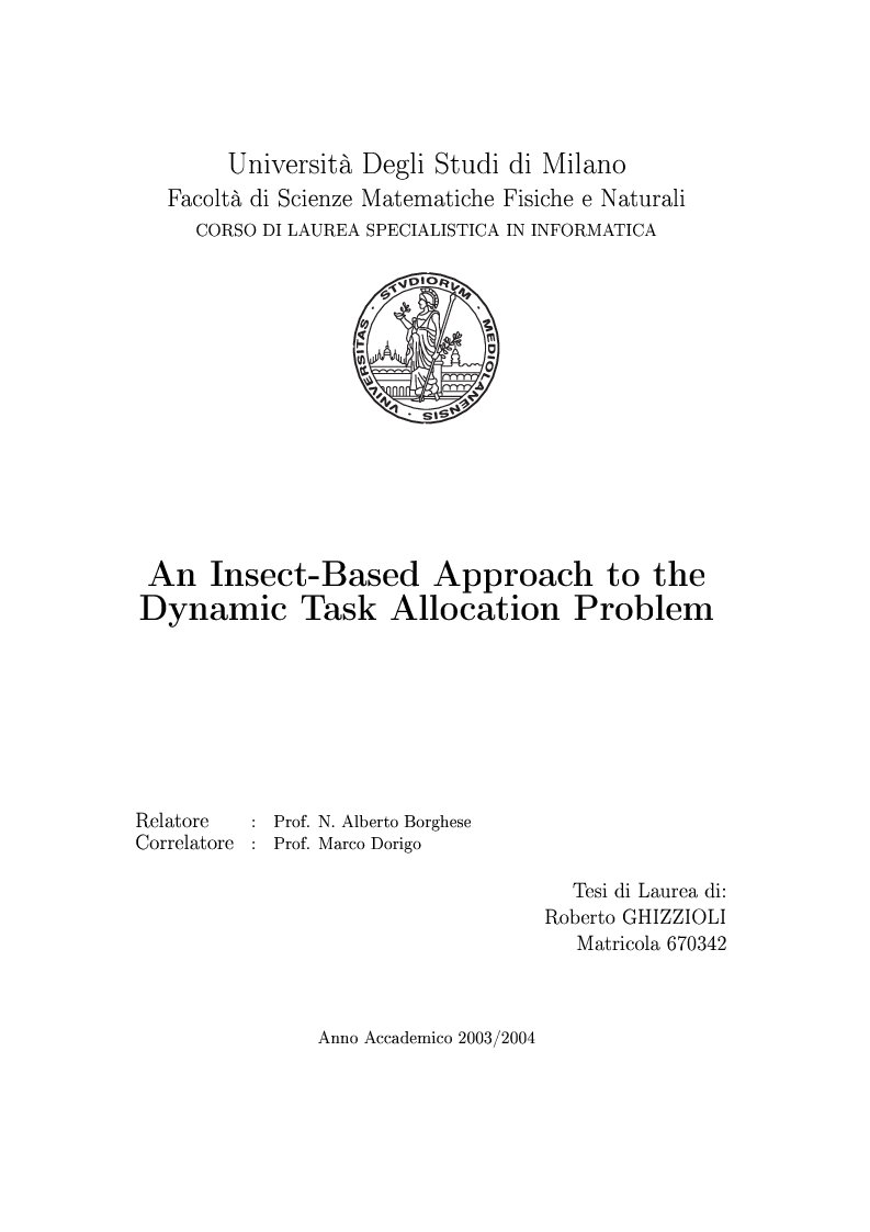 Anteprima della tesi: An Insect-Based Approach to the Dynamic Task Allocation Problem, Pagina 1