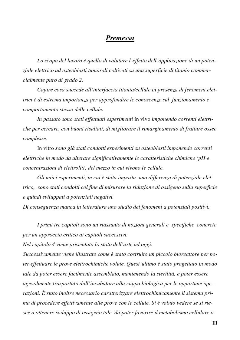 Anteprima della tesi: Effetti della polarizzazione elettrica del titanio su cellule ossee, Pagina 1