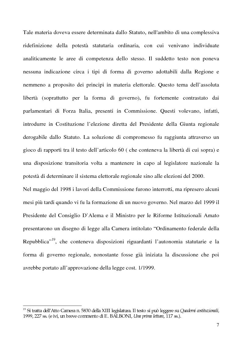 Anteprima della tesi: La potestà statutaria: il caso Calabria, Pagina 7