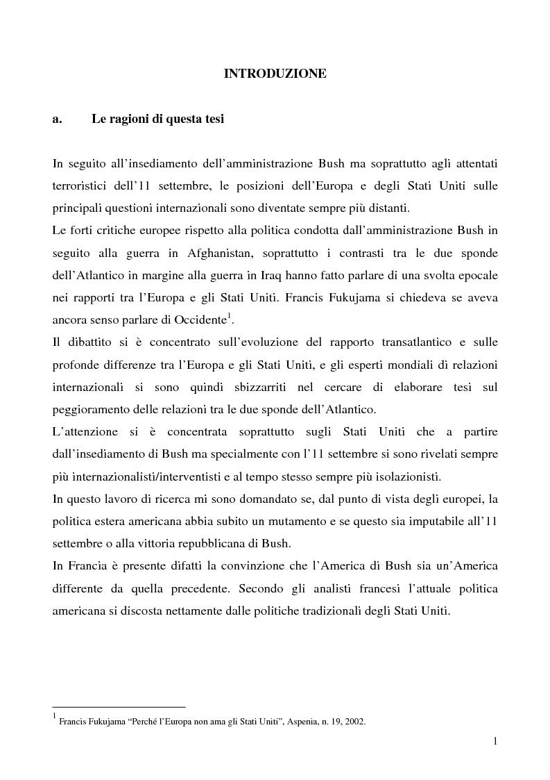 Anteprima della tesi: L'immagine degli Stati Uniti in Francia dopo l'11 settembre, Pagina 1