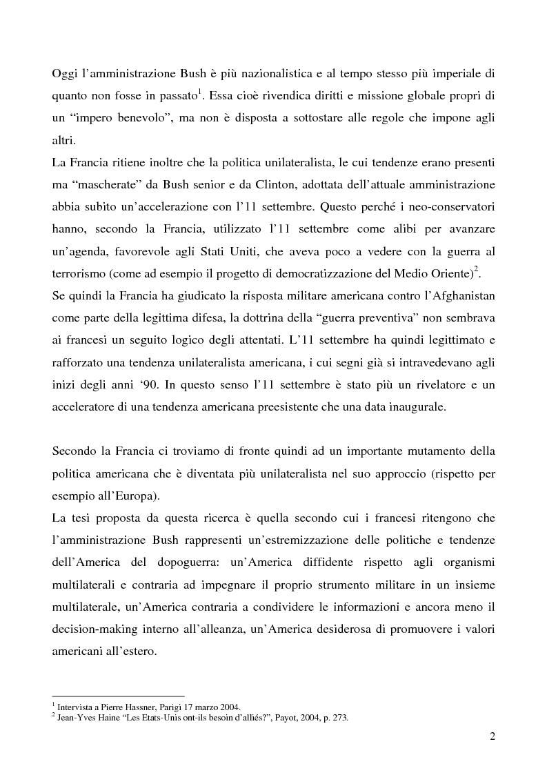 Anteprima della tesi: L'immagine degli Stati Uniti in Francia dopo l'11 settembre, Pagina 2