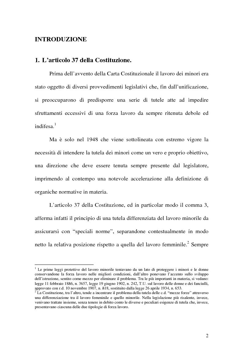 Anteprima della tesi: Il Lavoro dei minori e l'Apprendistato, Pagina 1