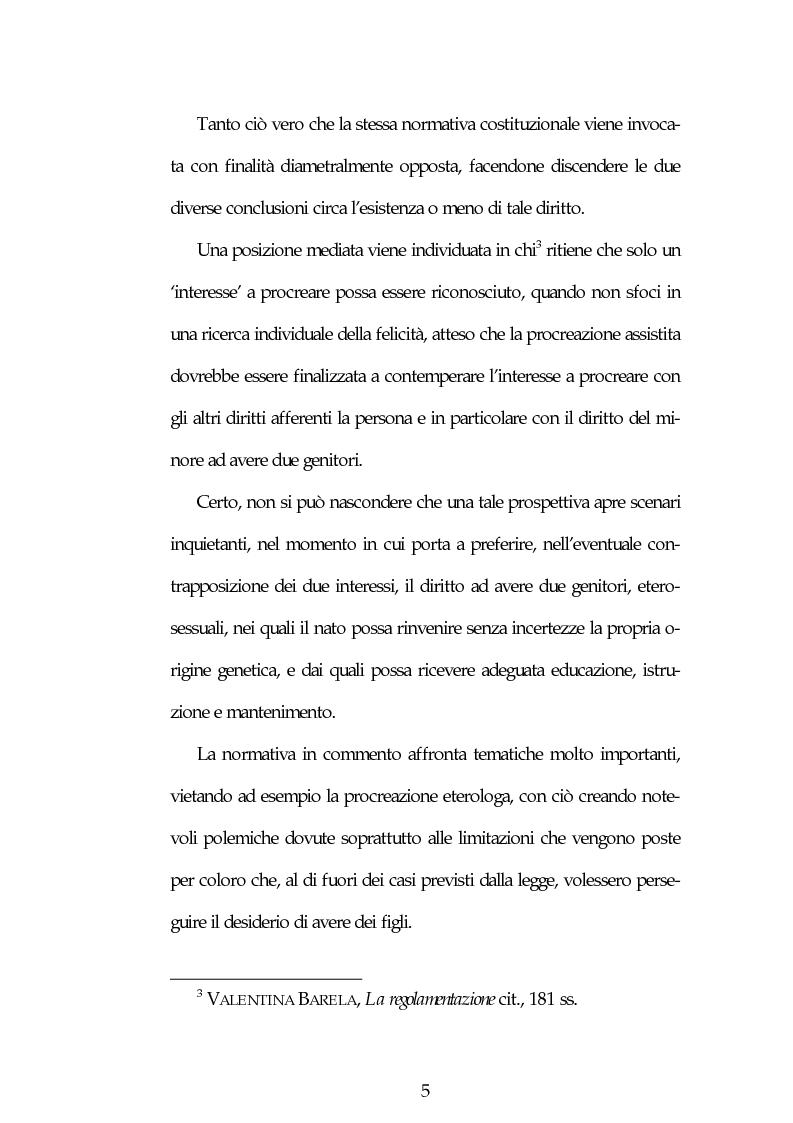 Anteprima della tesi: Aspetti etici, deontologici e medico legali in tema di recenti norme sulla Procreazione Medicalmente Assistita, Pagina 3